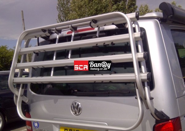Bike Rack T5 Transporter California Tailgate FREE SHIPPING WITH A RIB BED OR SCA ROOF OR £70 ON A PALLET
